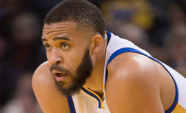 JaVale McGee of the Golden State Warriors rests for a second.