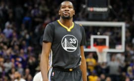 Kevin Durant walks down the court.