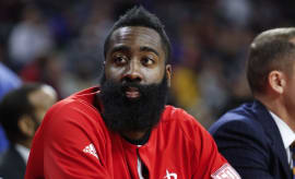James Harden takes a break from filling up the stat sheet.