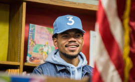 Chance the Rapper holds a press conference at Westcott Elementary School