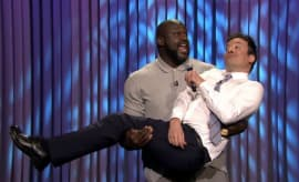 "Shaq picks up Jimmy Fallon during epic ""Lip Sync Battle."""