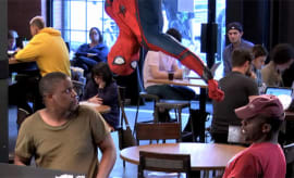 spiderman hanging out at starbucks
