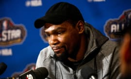 Kevin Durant answers questions at 2017 NBA All-Star Weekend.