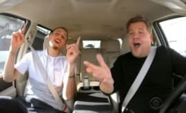 Steph Curry and James Corden sing Disney songs.