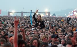 Fans listen to US band Deftones at the music festival Rock am Ring