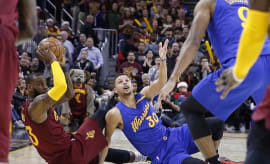 Steph Curry looks to referee for call, including why LeBron keeps punking him?