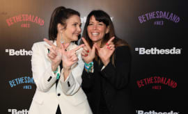 Actress Lynda Carter and 'Wonder Woman' director Patty Jenkins pose together