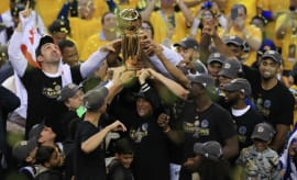 The Warriors celebrate their 2017 NBA title.