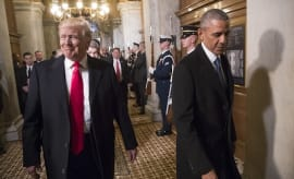 Donald Trump, left, and President Barack Obama arrive for Trump's inauguration ceremony