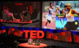 Serena Williams (R) discusses her tennis career and pending motherhood