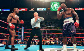 Tyson Holyfield II Mills Lane Timeout 1997 Getty