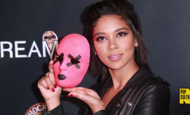 Alexandra Shipp with a 'Tragedy Girls' mask