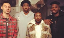 Ben Simmons, Joel Embiid, Meek Mill, and Nerlens Noel.