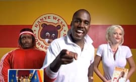 "Kanye West and Anna Nicle Smith in the video for ""The New Workout Plan"""