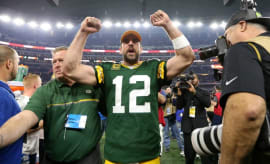 Aaron Rodgers celebrates win over Cowboys.