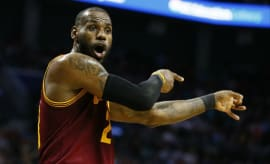 LeBron James reacts to a call during a recent game.