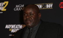 Christopher 'Big Black' Boykin arrives at Showtime's VIP prefight party