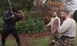 Marshawn Lynch swordfights in Scotland.