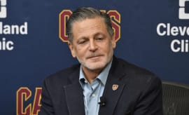 Cleveland Cavaliers owner Dan Gilbert speaks to reporters during a press conference.