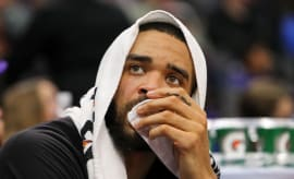 JaVale McGee sits on the bench.