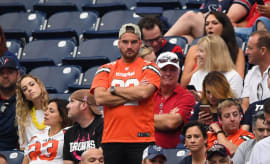 A displeased Browns fan reacts during the 4th quarter of their game against Houston.