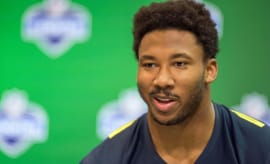 Myles Garrett speaks with reporters at NFL Combine.