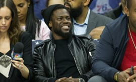 kevin hart at basketball game