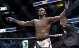 Jon Jones reacts following his victory against Daniel Cormier during UFC 214.