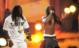 T-Pain and Lil' Wayne on stage during the 2008 BET Awards