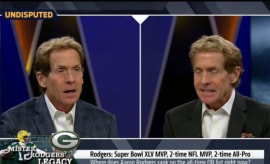 A YouTube video shows Skip Bayless arguing with himself over Aaron Rodgers.