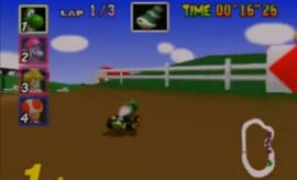Moo Moo Farm track, featuring Yoshi in first place.