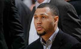 Brandon Roy sits on the bench for the Timberwolves.
