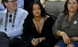 Rihanna attends Game 1 of the 2017 NBA Finals.
