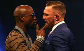 Floyd Mayweather and Conor McGregor talk trash.