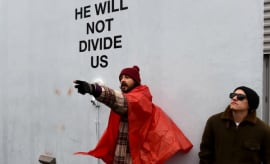 Shia LaBeouf protests Donald Trump.