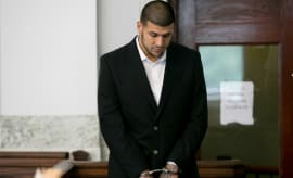 Aaron Hernandez makes a court appearance in 2013.