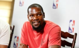 Kevin Durant speaks with the media.