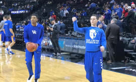 Kentucky Wildcats freshman Brad Calipari shooting in warmups before a game