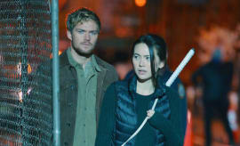 Jessica Henwick and Finn Jones on the set of 'Iron Fist'