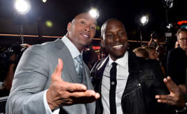Dwayne 'The Rock' Johnson and Tyrese Gibson attend 'Furious 7' premiere