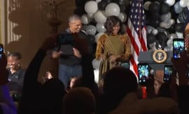 "This is Barack and Michelle Obama dancing to ""Thriller."""
