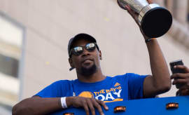 Kevin Durant at the Warriors victory parade.