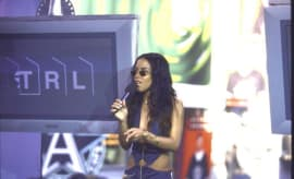 Aaliyah at MTV studio promoting her film Romeo Must Die