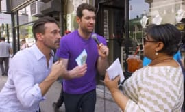 A screen grab of Jon Hamm and Billy Eichner from YouTube.