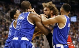 Robin Lopez and Serge Ibaka fight.
