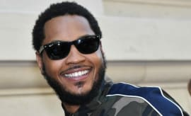 Carmelo Anthony at Paris Fashion Week.