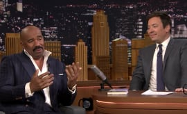 Steve Harvey, tonight showing it up with Jimmy