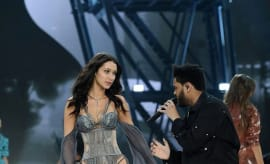 This is Bella Hadid and The Weeknd at the 2016 Victoria's Secret Fashion Show.