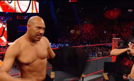 LaVar Ball takes off his shirt during WWE RAW.