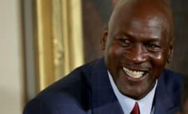 Michael Jordan laughs.